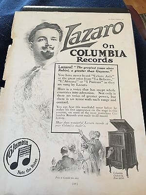 1916 LAZARO ON COLUMBIA RECORDS AD & GUNTHERS & SONS 5th AVE NEW YORK CITY ADS