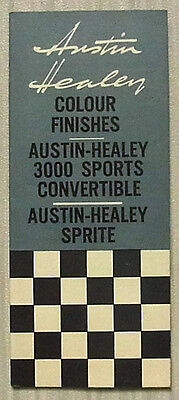 AUSTIN HEALEY Colour Chart c1961 #2161B 3000 SPORTS CONVERTIBLE & SPRITE