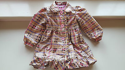 MARKS&Spencer very girly 4-5 years pink multi checked rain wind jacket coat VGC