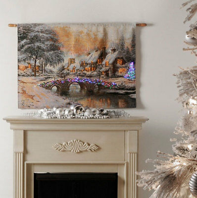 Cobblestone Christmas Fiber Optic Tapestry Wall Hanging ~ Thomas Kinkade