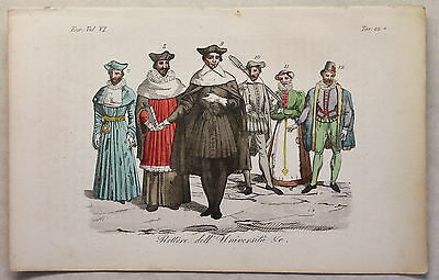 Europa Clothing University Traditional costumes Copperplate um 1825 handcoloured