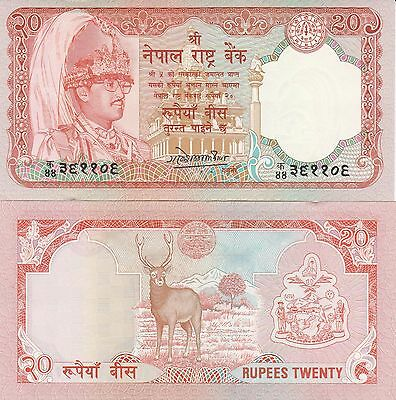 Nepal P38b, 20 Rupee, king's accession to the throne / stag - see UV, 1988, UNC