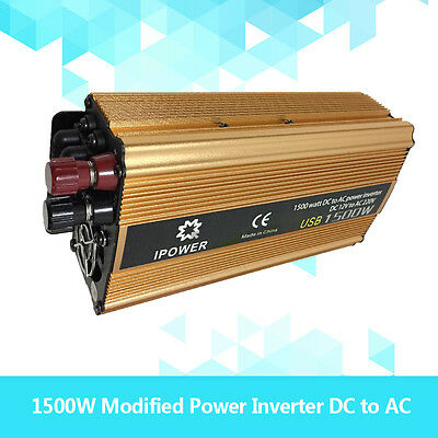 Boat Car 1500W converter power inverter DC 12V to AC 240V invertor 2.4AMP USB
