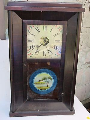 1850's Sperry and Shaw flat OG Clock Reverse Painted 30hr Clock