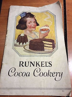 Vintage Runkel's Cocoa Cookery Chocolate Brothers Recipe Book Runkel Cookbook