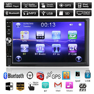 "Double 2 Din 7"" Car GPS Navi Bluetooth USB/TF/FM DVR/AUX Input Radio Stereo MP3"