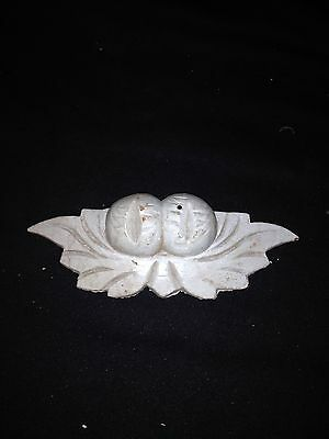 "1930's 6 3/4"" Leaves & Nuts Carved Wood Pediment"
