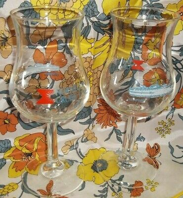 "LOT OF 2 NORWEGIAN CRUISE LINE STARWARD souvenir TULIP GLASSES 8"" TALL  (XX4-2)"
