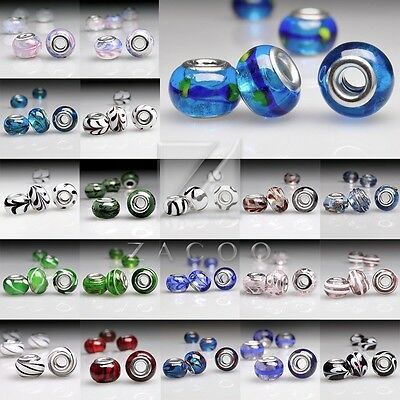 5pcs New Murano Glass Round Lampwork Large Hole Charm Loose Beads 14x14x10mm