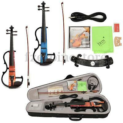 Portable 4/4 Full Size Concert Electric Violin Fiddle With Bow Earphone Case Etc