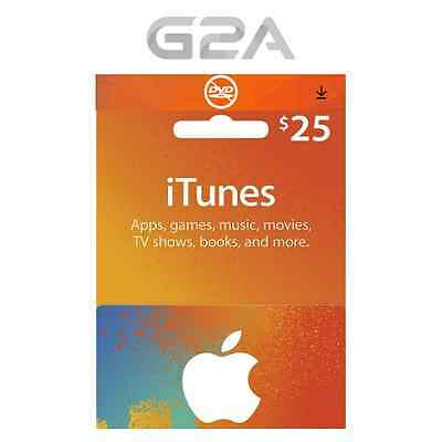 iTunes $25 USD Gift Card - 25 US Dollars USA Apple Store Code - Apple iTunes Key