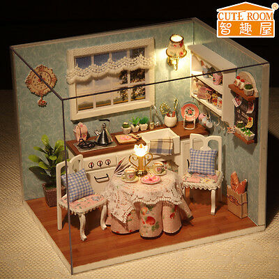 New Dollhouse Miniature DIY Kit with Cover and LED Wood Toy Dolls House Room 8