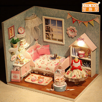 New Dollhouse Miniature DIY Kit with Cover and LED Wood Toy Dolls House Room 9