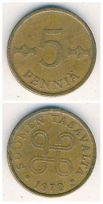Finland  5 Pennia 1963-1977  19mm bonze coin 1pcs