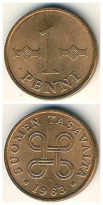 Finland  1 Penni 1963-1969 16mm bonze coin 1pcs