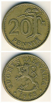 Finland  20 Pennia 1963-1990  23mm brass coin 1pcs