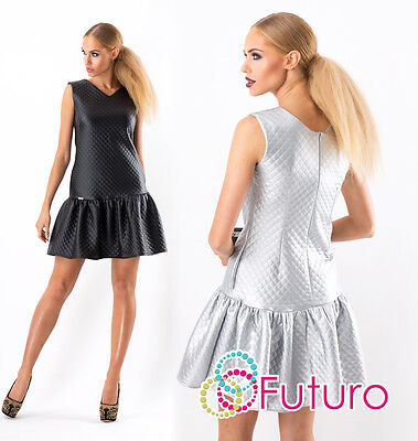 Womens Quilted Tiered Dress With Pocket & Zip V Neck Sleeveless Sizes 8-10 FA351