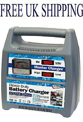 Delux Car motorcycle 6v 12v battery charger Heavy duty 12A master trickle charge