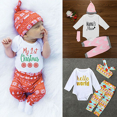 Newborn Baby Girls Deer Tops Romper+Pants+Hat+Hairband 4PCS Outfits Clothes Set