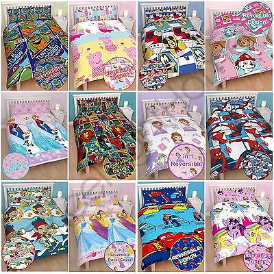 Kids Disney And Character Double Duvet Cover Sets Marvel Paw Patrol Peppa & More