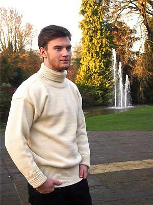 Submariner/Fisherman Roll Neck 100% British Wool Sweater/Jumper, Ecru Navy Grey