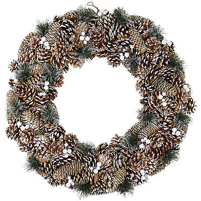 Large Christmas Wreath Decoration Snowy Fir & Pine Cone 60cm