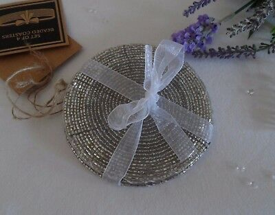 Set of 4 Round Glass Beaded Silver Drinks Mats Coasters Christmas