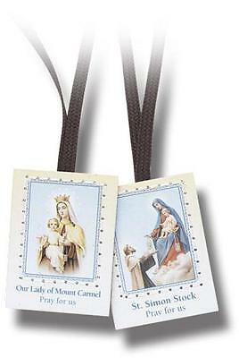Traditional Catholic Scapular Brown Wool Cord Our Lady of Mount Carmel Boxed