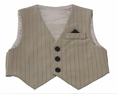 NEW Sand Tan Pinstriped Vest for Infants, Toddlers, and Boys