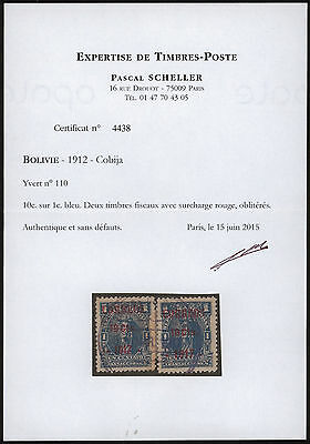 Bolivia 1917 - Air mail surcharge - Used stamps + Certificate