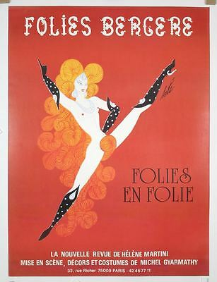 FOLIES BERGERE Vintage 1975 French Grande poster 47x63 ERTE NM LINEN BACKED