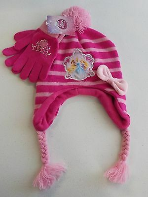 Girls One Size Fits Most Disney Princess Winter Hat & Gloves Pink Nwt New 305*