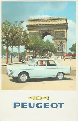 PEUGEOT 404 CAR 1960 vintage French advertising poster 25x39