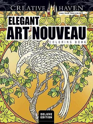 Elegant Art Nouveau ~ Deluxe Adult Coloring Book ~ Perforated Pages 4 Framing