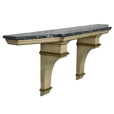 French Painted and Gilt Wall-Mounted Console with Green Marble
