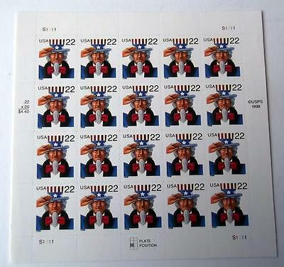 US Postage Stamps 1 Sheet SCOTT # 3259 UNCLE SAM 22 Cent MN
