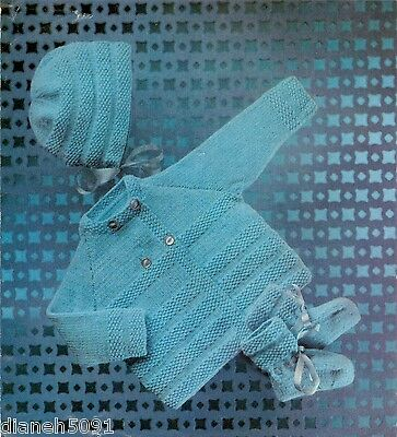Baby Set Hat Sweater Booties Sizes 18 to 22 Inch Chest Knitting Pattern