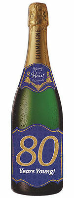 Pictura Champagne Bottle Card - 80TH BIRTHDAY - #PC-0210-024