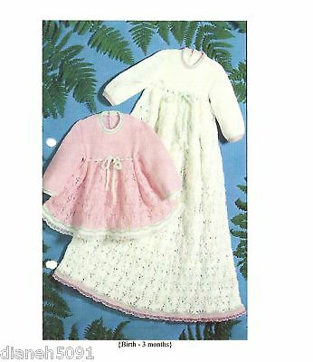 Baby Christening Dress Knitting Pattern Long & Short For Newborn To 3 Months