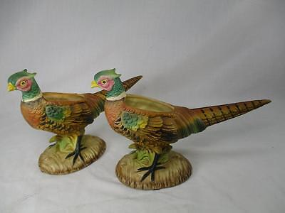 Vtg Pair of 2 Ringed Neck Pheasant Porcelain Figurines Planters by ARCO Japan