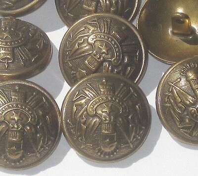 """ORNATE set 9 Vtg antiqued Brass metal new Military Style buttons 28.5mm 1 & 1/8"""""""