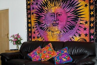 Celestial Hippy Hippie tie dye Sun and Moon Wall Hanging,Sun Stars Wall Tapestry