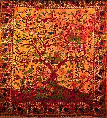 Tree Of Life Tapestry Throw Blanket Wall Hanging Cotton Bohemian Woven Bedspread