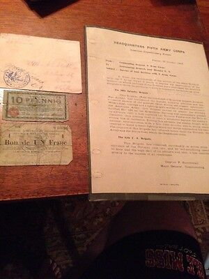 WWI Items And letter From Major General Charles P Summerall
