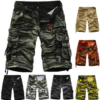 2016 Mens Casual Army Cargo Combat Camo Camouflage Overall Shorts Sports Pants