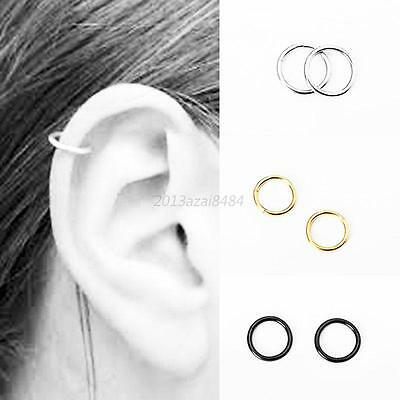 2pcs Stainless Steel Piercing Hoop Earring Helix Nose Ear Cartilage Tragus Ring