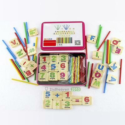 79pcs Counting Toy Educational Wooden Stick Child Early Learning Number Puzzle