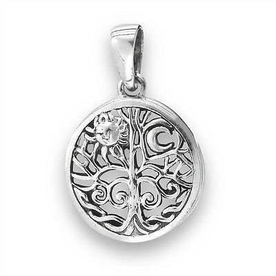 TREE OF LIFE Circular Sterling Silver 925 Pendant Jewelry Charm