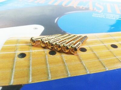 Set of 6 Tremolo Bridge Mounting Screws For Strat Stratocaster - Gold 1""