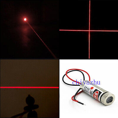 650nm 5mW Red Laser Head Adjustable Focus 3~5V Dot/Horizontal/Cross Red Line